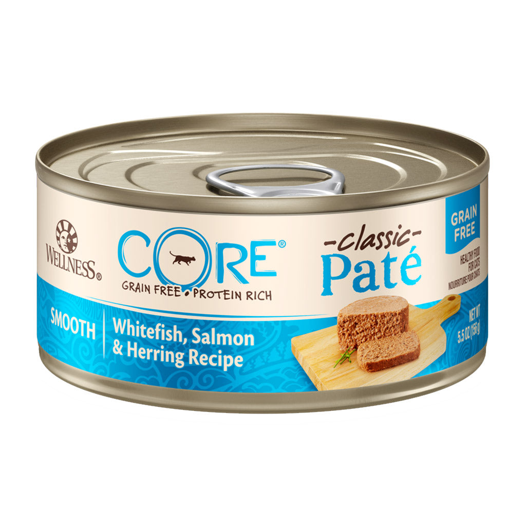 25% OFF: Wellness® CORE Pâté Whitefish, Salmon & Herring Grain-Free Canned Cat Food 156g (12/24pcs)