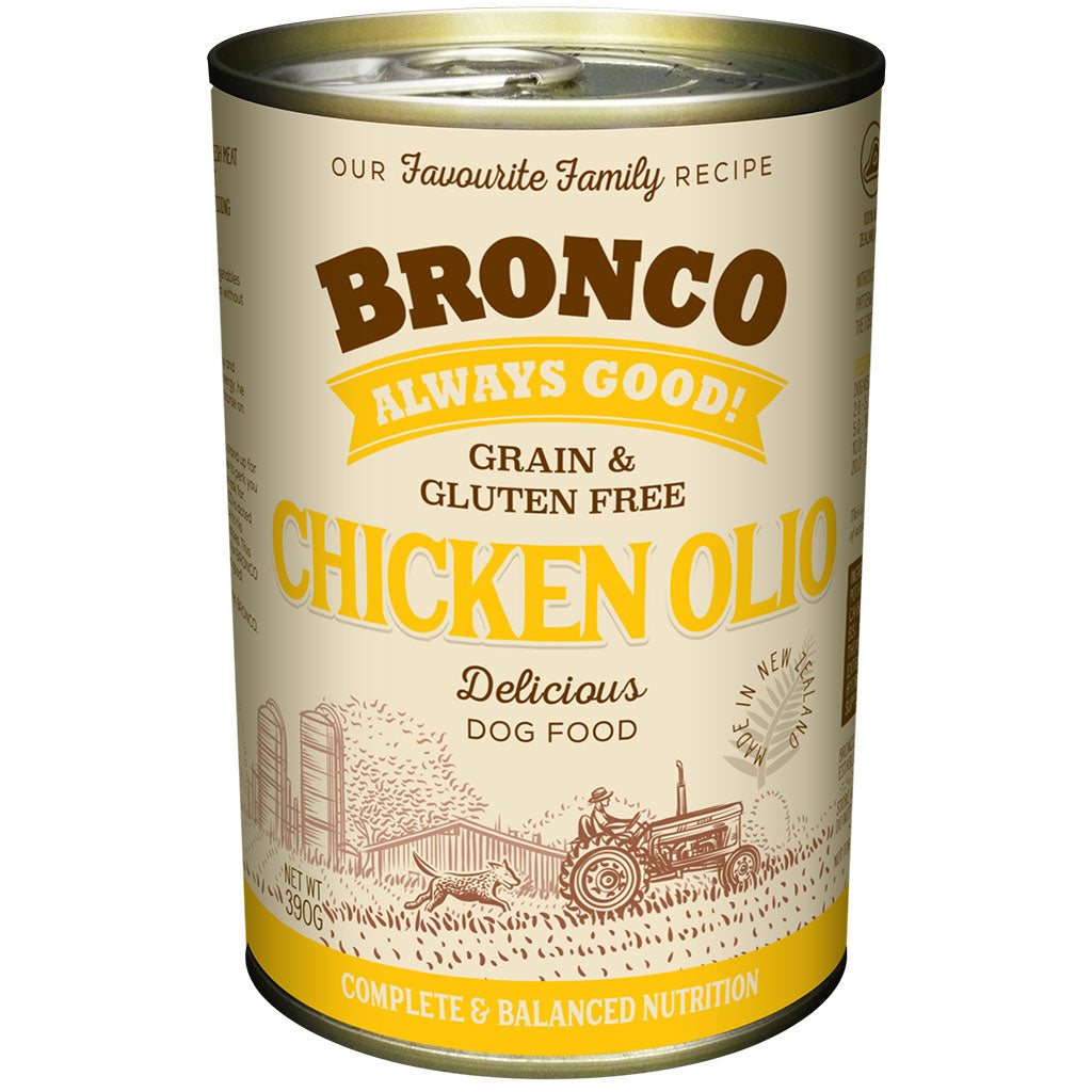 12 FOR $30 [CB SALE]: Bronco Chicken Olio Grain-Free Wet Dog Food 390g