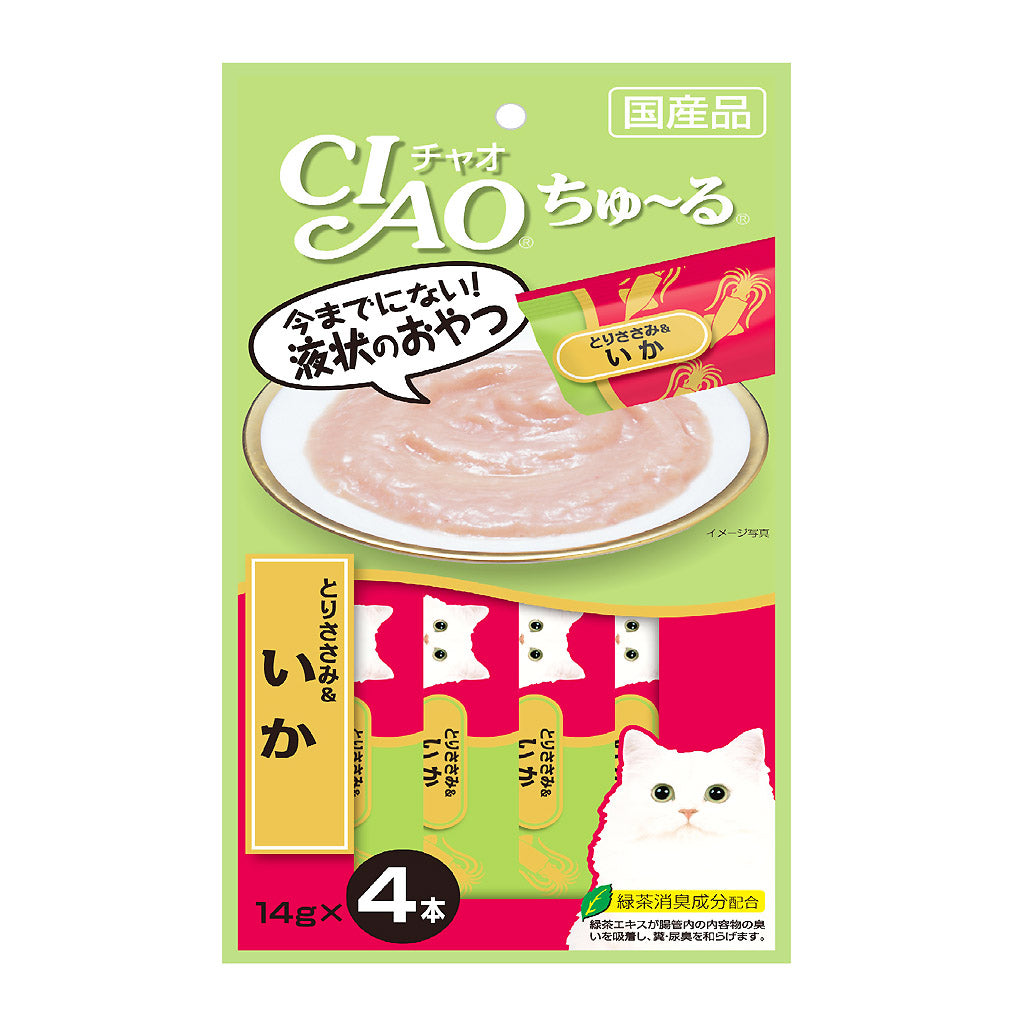 [SALE 3@10] Ciao® Chu-ru Chicken Fillet & Squid Cat Treat (4x14g)