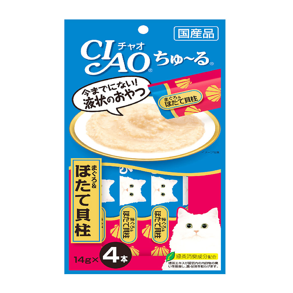 Ciao® Chu-ru White Meat Tuna & Scallop Cat Treat (4x14g)