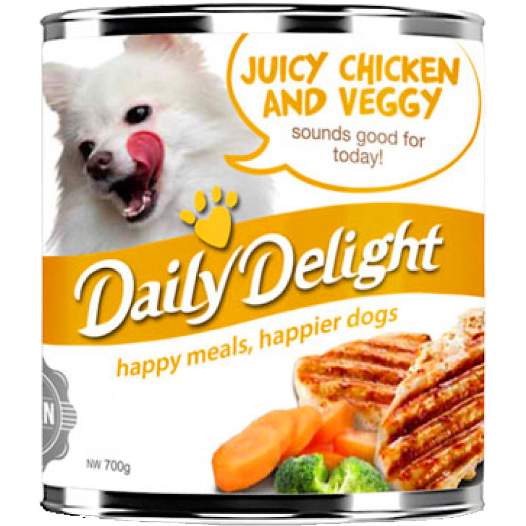 20% OFF: Daily Delight® Juicy Chicken & Veggy Canned Dog Food 700g (6-24pcs)