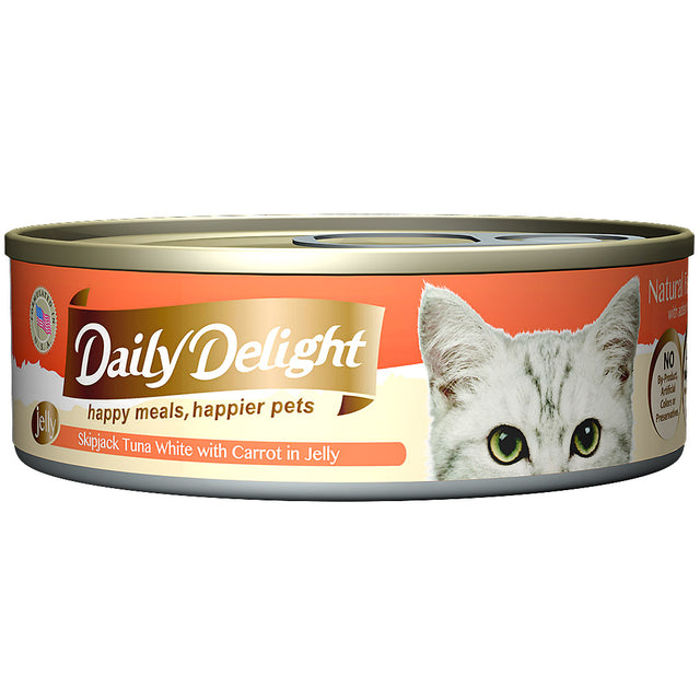 30% OFF + FREE CIAO TREATS: Daily Delight® Jelly Skipjack Tuna White with Carrot Canned Cat Food 80g (24pcs)