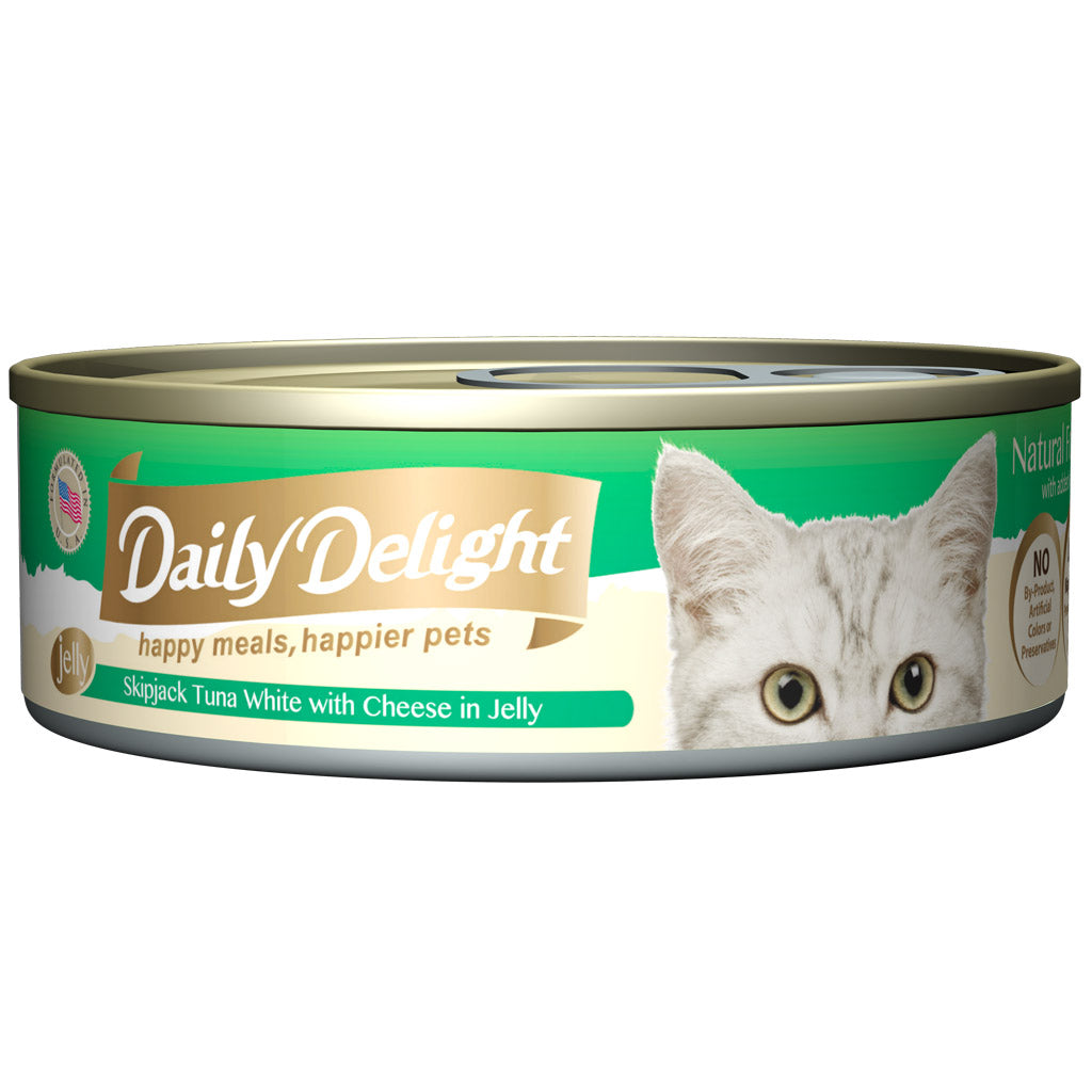 30% OFF + FREE CIAO TREATS: Daily Delight® Jelly Skipjack Tuna White with Cheese Canned Cat Food 80g (24pcs)