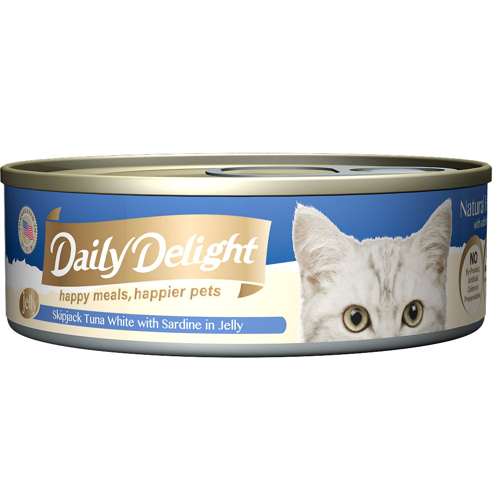 30% OFF + FREE CIAO TREATS: Daily Delight® Jelly Skipjack Tuna White with Sardine Canned Cat Food 80g (24pcs)