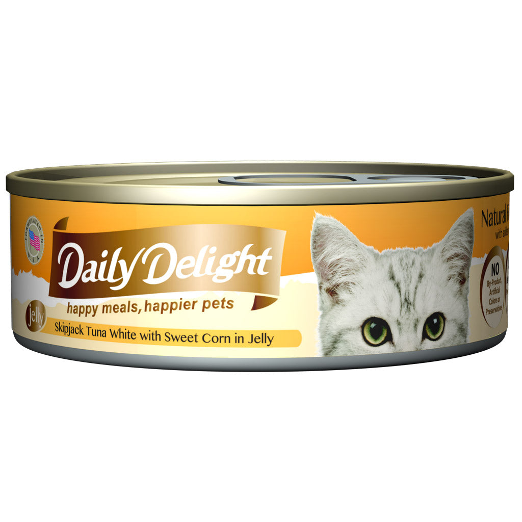 30% OFF + FREE CIAO TREATS: Daily Delight® Jelly Skipjack Tuna White with Sweet Corn Canned Cat Food 80g (24pcs)