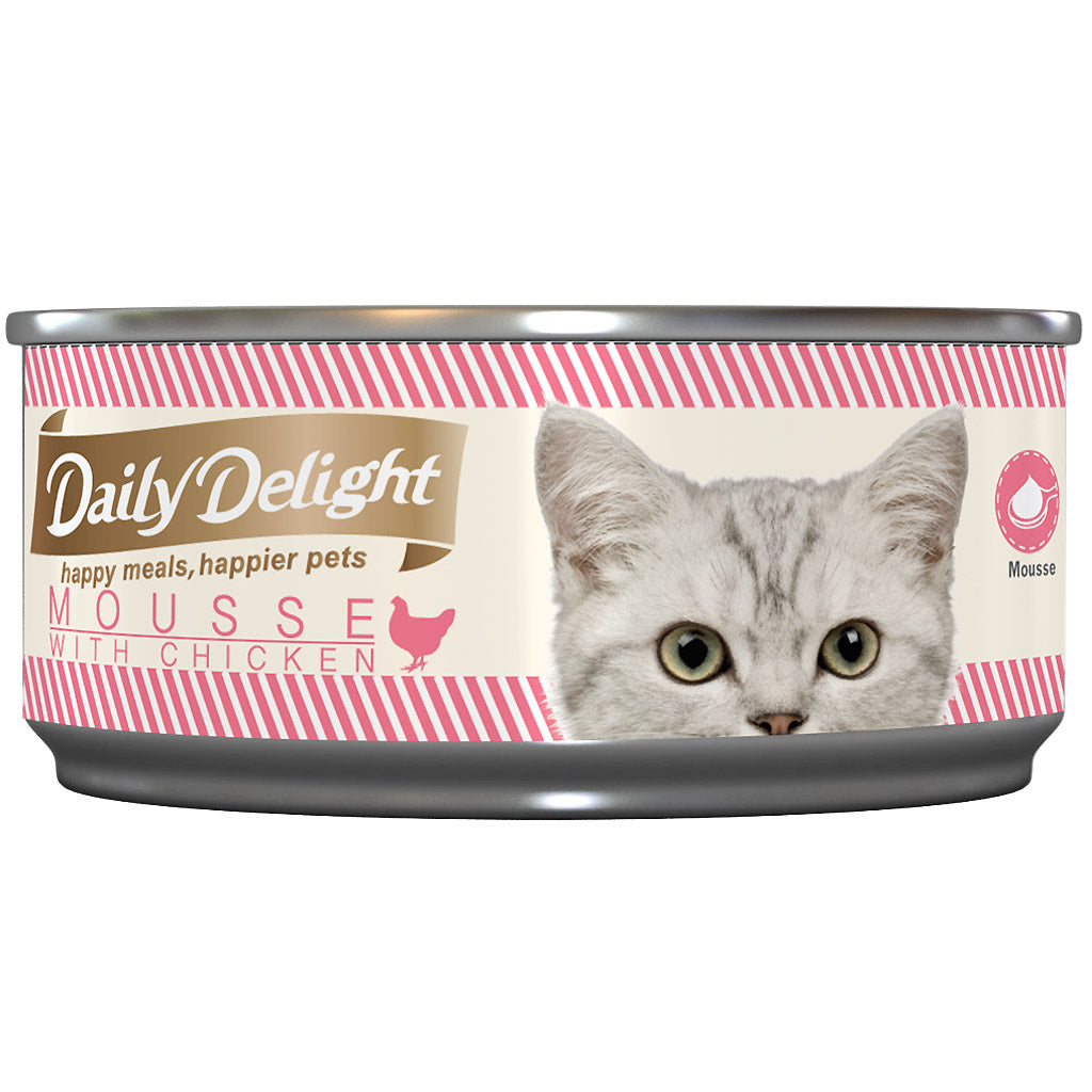15% OFF: Daily Delight® Mousse with Chicken Grain-Free Canned Cat Food (24pcs)