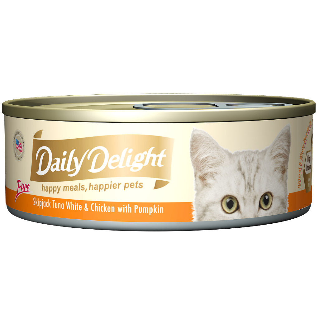 Daily Delight® Pure Skipjack Tuna White & Chicken with Pumpkin Canned Cat Food (24pcs)