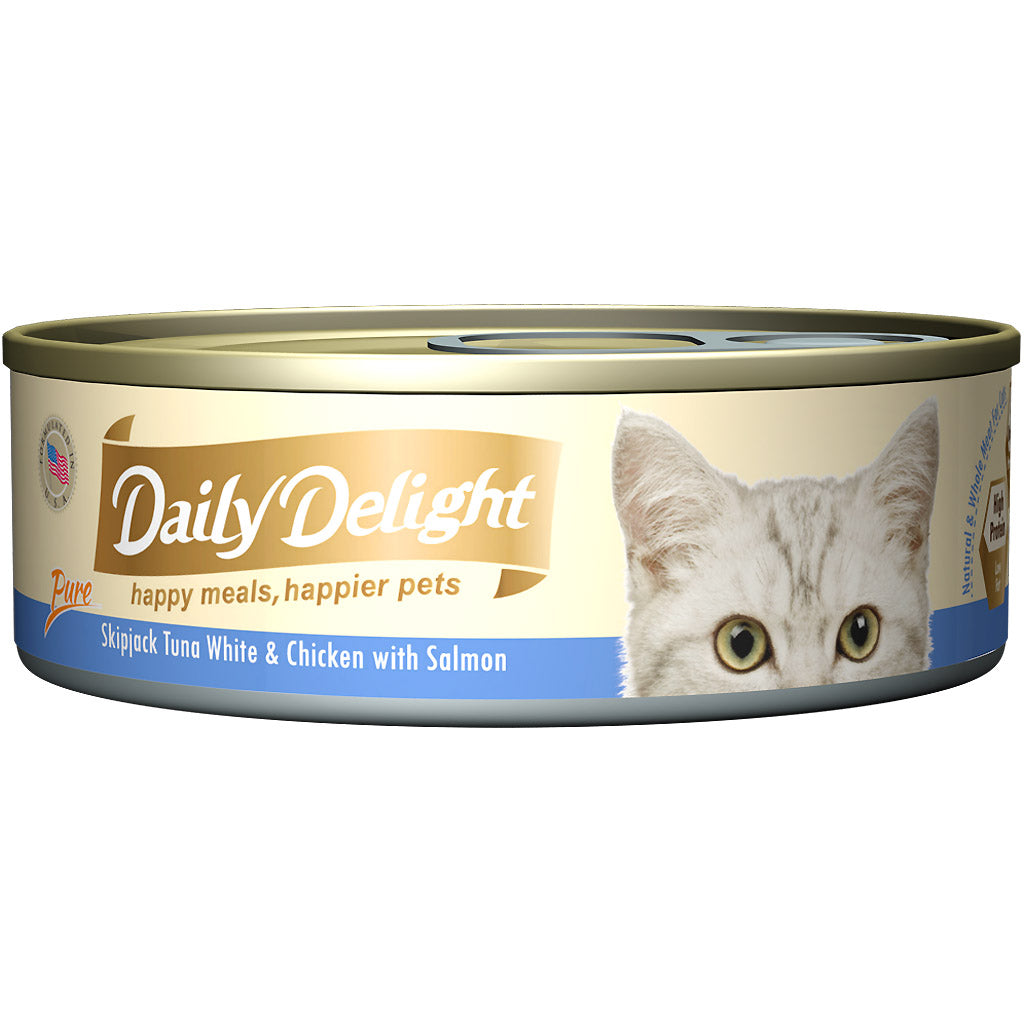 15% OFF: Daily Delight® Pure Skipjack Tuna White & Chicken with Salmon Canned Cat Food (24pcs)
