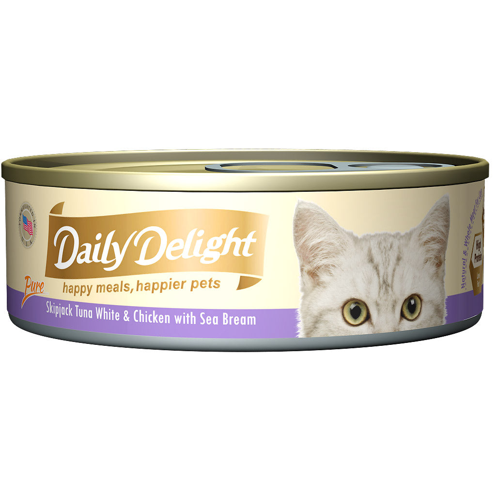15% OFF: Daily Delight® Pure Skipjack Tuna White & Chicken with Sea Bream Canned Cat Food (24pcs)