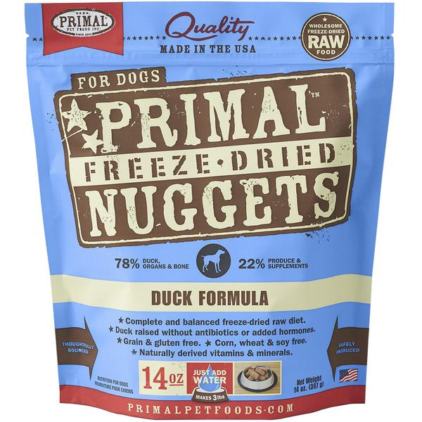 2 FOR $88 [60% OFF]: Primal® Freeze-Dried Nuggets Duck Formula Dry Dog Food 397g (14oz)