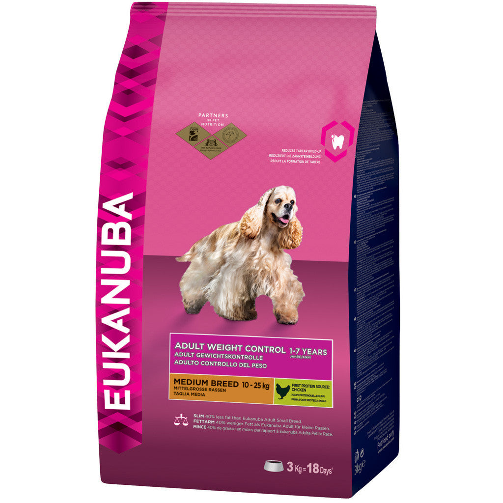 25% OFF + FREE TREATS: EUKANUBA® Weight Control Small & Medium Breed Dry Dog Food (2 sizes)