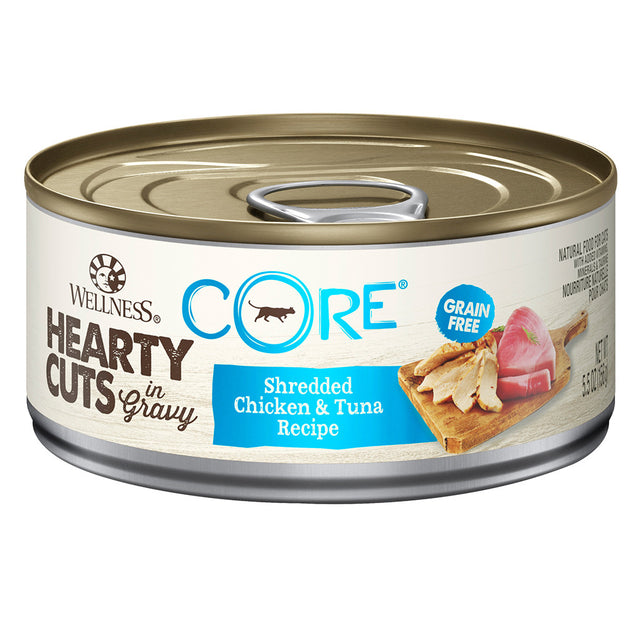 25% OFF + FREE TREATS: Wellness® CORE Hearty Cuts Chicken & Tuna Canned Cat Food 156g (12/24pcs)