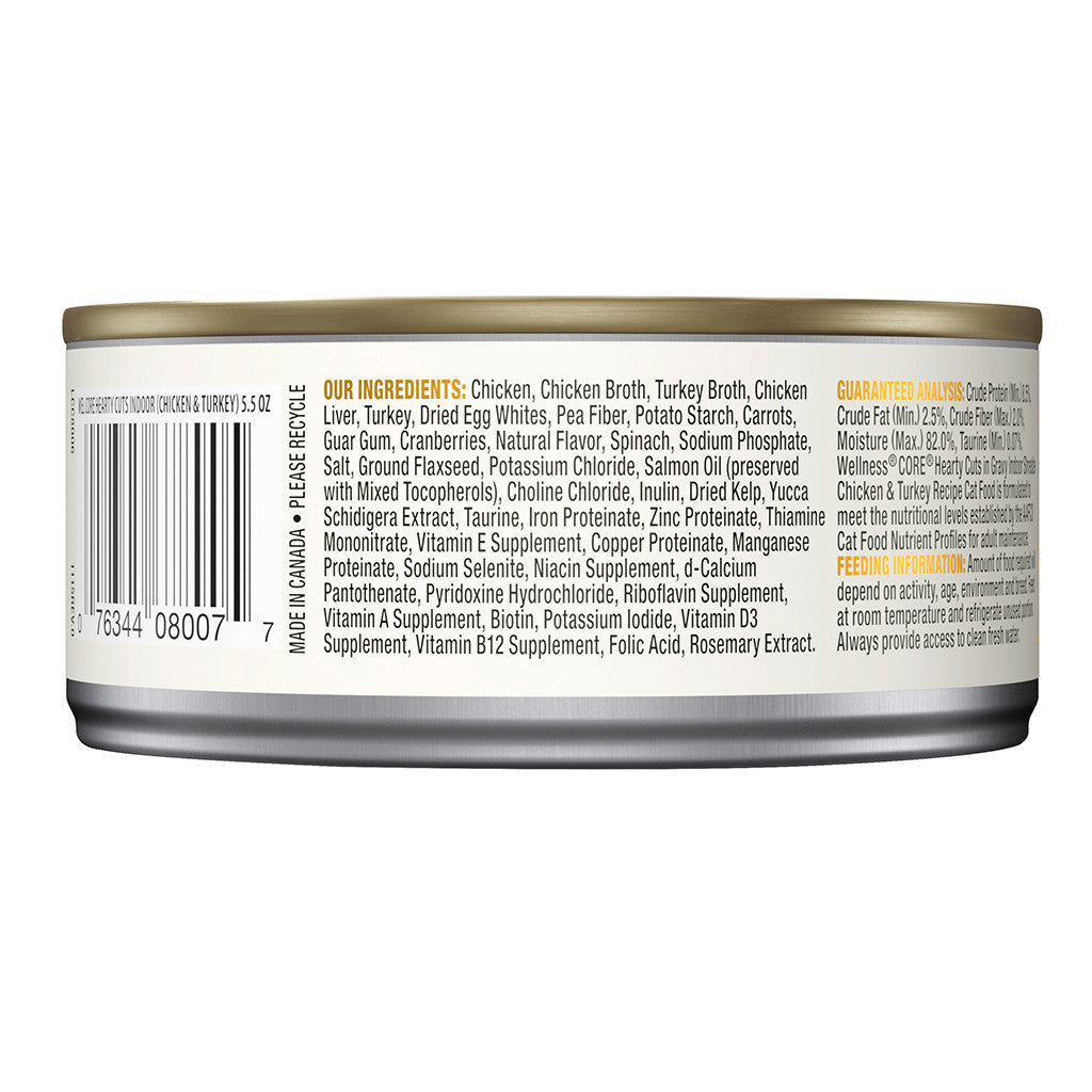 25% OFF + FREE TREATS: Wellness® CORE Hearty Cuts Indoor Chicken & Turkey Grain-Free Canned Cat Food 156g (12/24pcs)