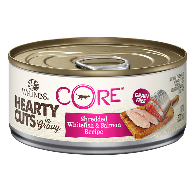 25% OFF + FREE TREATS: Wellness® CORE Hearty Cuts Whitefish & Salmon Grain-Free Canned Cat Food 156g (12/24pcs)