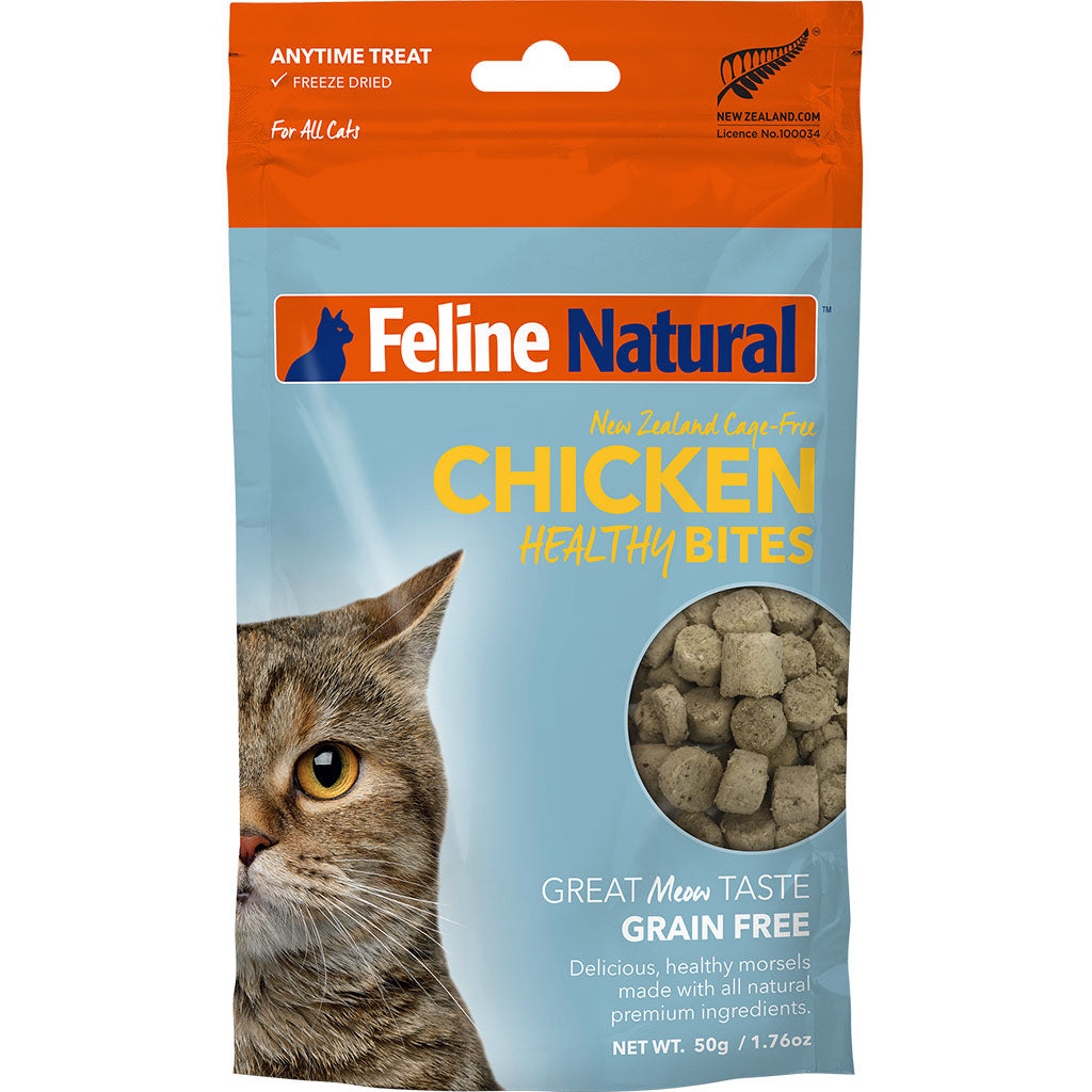 20% OFF: Feline Natural® Freeze Dried Healthy Bites Chicken Cat Treats (50g)