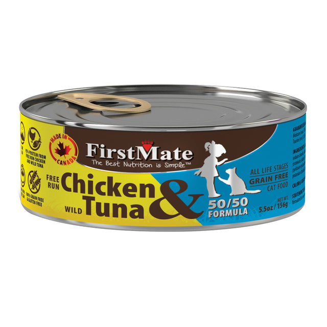 20% OFF: FirstMate Free Run Chicken & Wild Tuna 50/50 Formula Grain-Free Canned Cat Food 156g (12/24pcs)