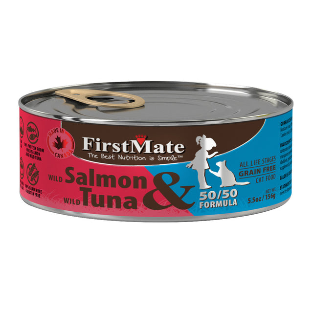 20% OFF: FirstMate® Wild Salmon & Wild Tuna 50/50 Formula Grain-Free Canned Cat Food (12/24pcs)