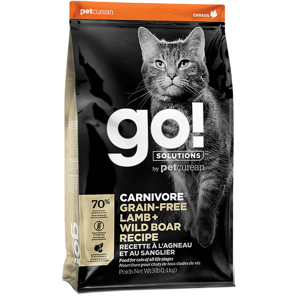 55% OFF [CLEAR]: Petcurean GO!® Carnivore Lamb+Wild Boar Grain-Free Dry Cat Food (1.4kg)