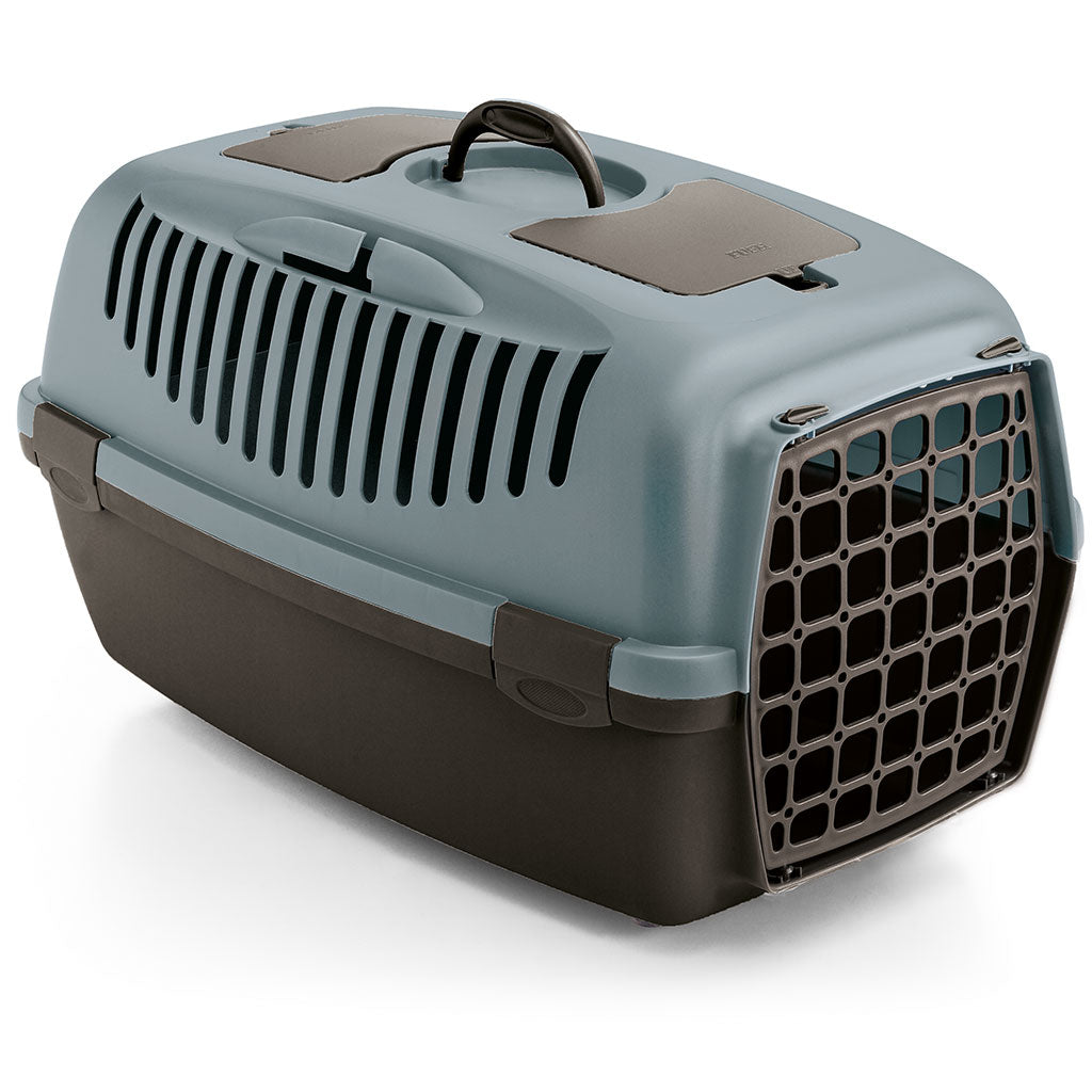 15% OFF: Stefanplast® Gulliver 2 With Plastic Door Pet Carrier for Dogs & Cats – Steel Blue