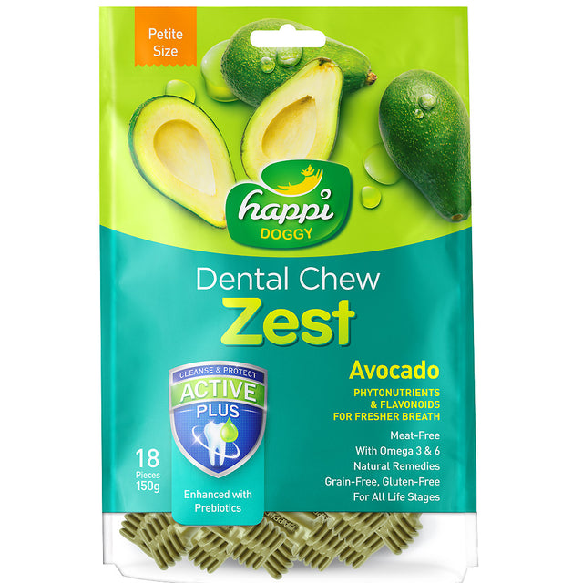 3 FOR $23 [SAVER]: Happi Doggy® Dental Chew Zest Dog Treats 150g (6 Flavours)