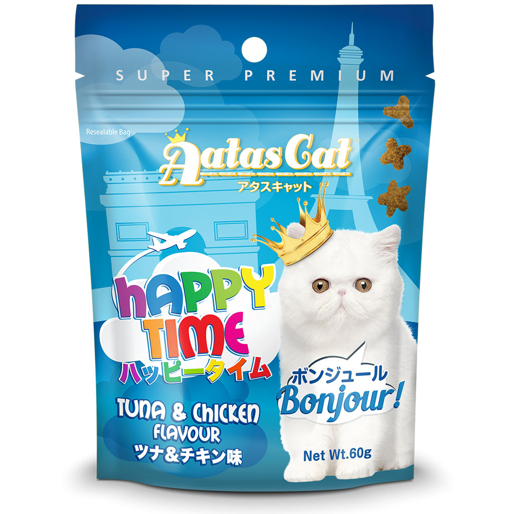 3 FOR $8.50 [EXPO20]: Aatas Cat® Happy Time  Bonjour Tuna & Chicken Flavour Cat Treat 60g