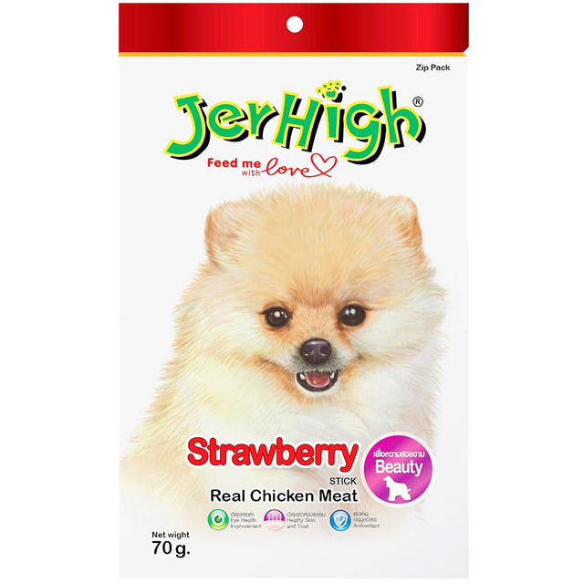 3 FOR $9.90 [SAVER]: JerHigh® Strawberry Jerky Dog Treats (70g)