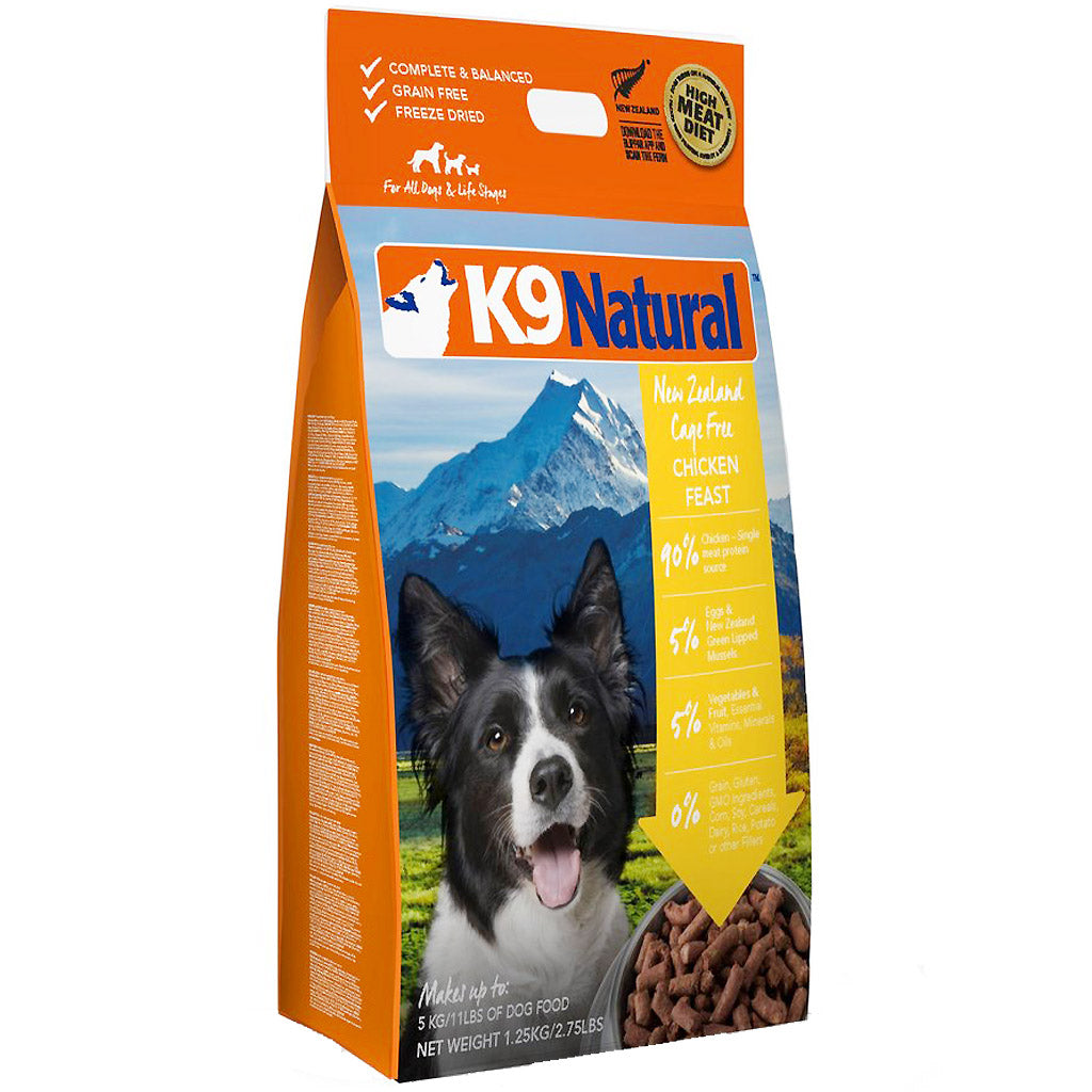 25% OFF + FREE TREATS: K9 Natural® Freeze-Dried Chicken Feast Dog Food (3 sizes)
