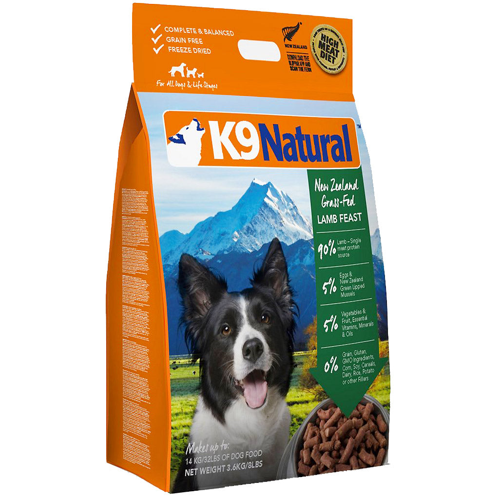 25% OFF + FREE BIN & TREATS: K9 Natural® Freeze-Dried Lamb Feast Dog Food (4 sizes)