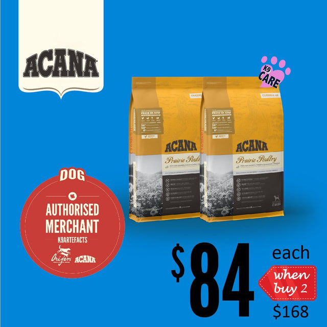2 FOR $168 + FREE GIFT [SAVER]: ACANA® Classics Prairie Poultry Dry Dog Food 11.4kg