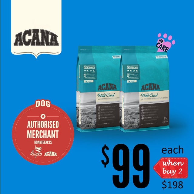 2 FOR $198 + FREE GIFT [SAVER]: ACANA® Classics Wild Coast Dry Dog Food 11.4kg