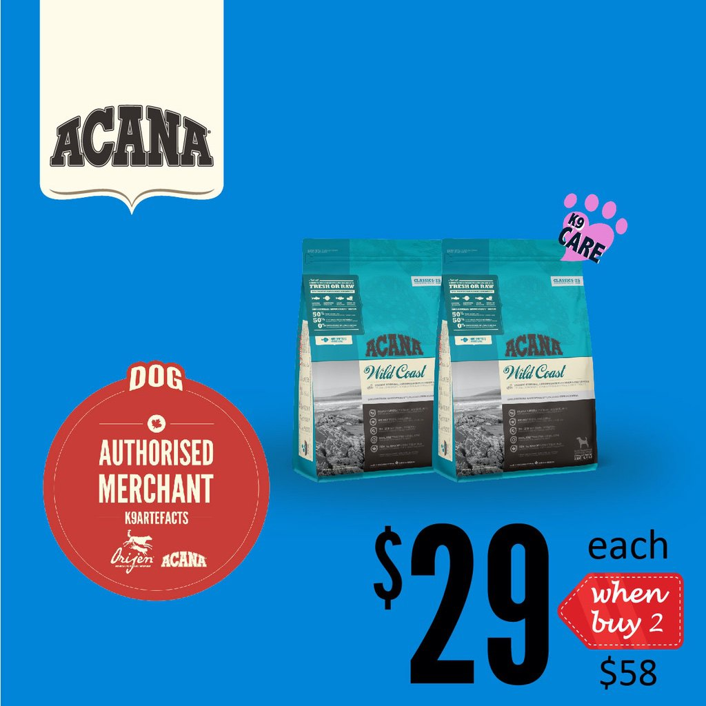 2 FOR $58 + FREE GIFT [SAVER]: ACANA® Classics Wild Coast Dry Dog Food 2kg