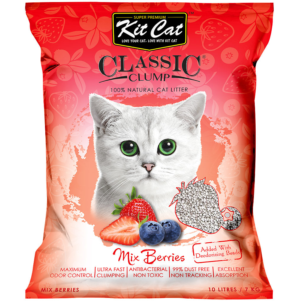 4 FOR $24 [SAVER]: Kit Cat® Classic Clump Mix Berries Cat Litter (10L)