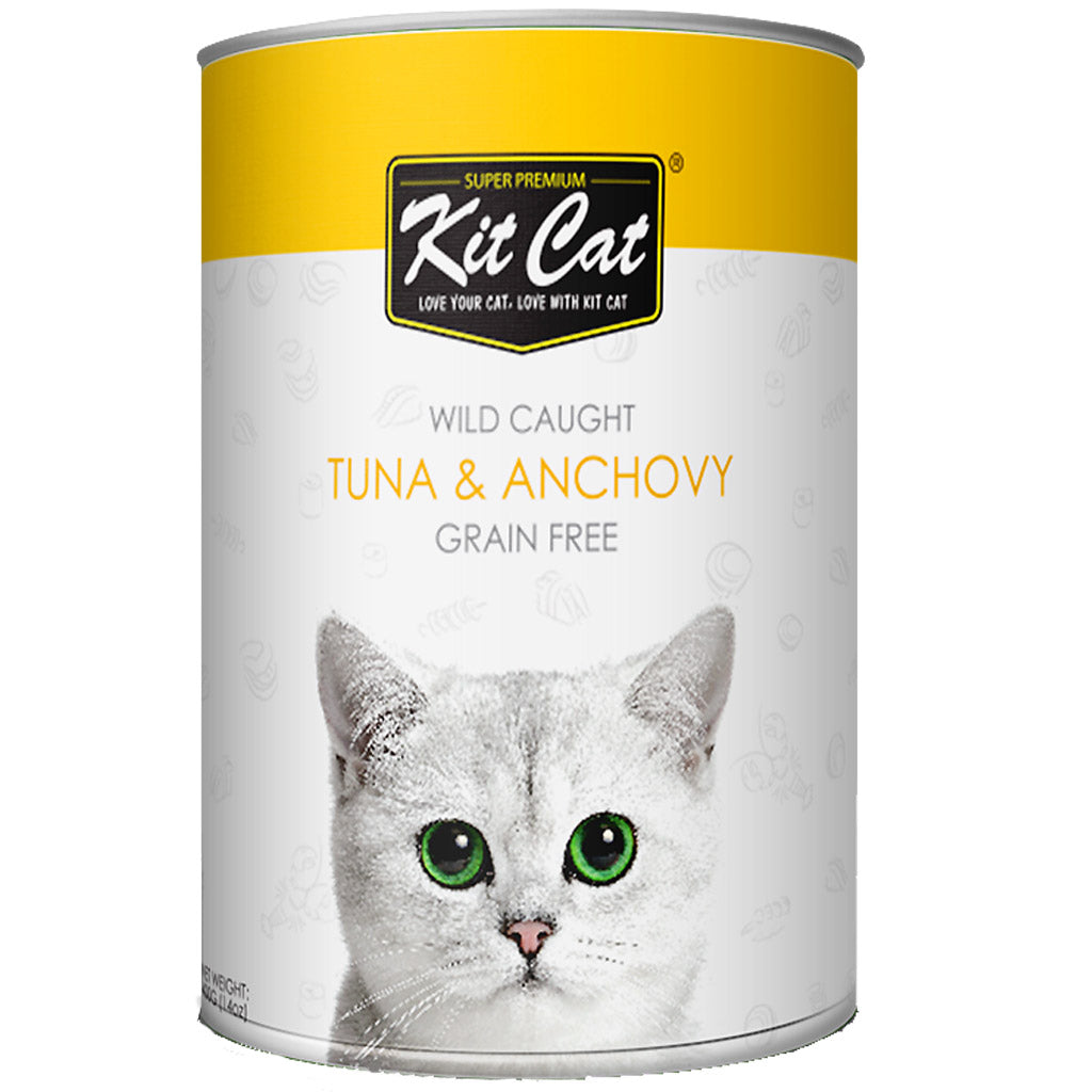 20% OFF: Kit Cat® Wild Caught Tuna & Anchovy Grain-Free Canned Cat Food 400g (24pcs)