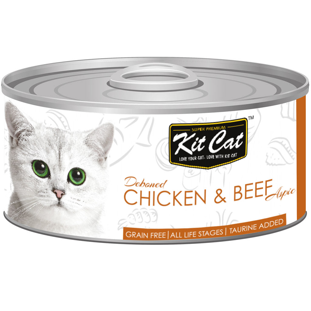 Kit Cat® Premium Deboned Chicken & Beef Aspic Grain-Free Canned Cat Food (24pcs)