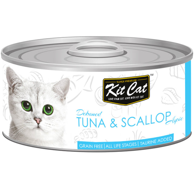 $0.95 ONLY [GSS20]: Kit Cat® Deboned Tuna & Scallop Grain-Free Canned Cat Food 80g (24pcs)