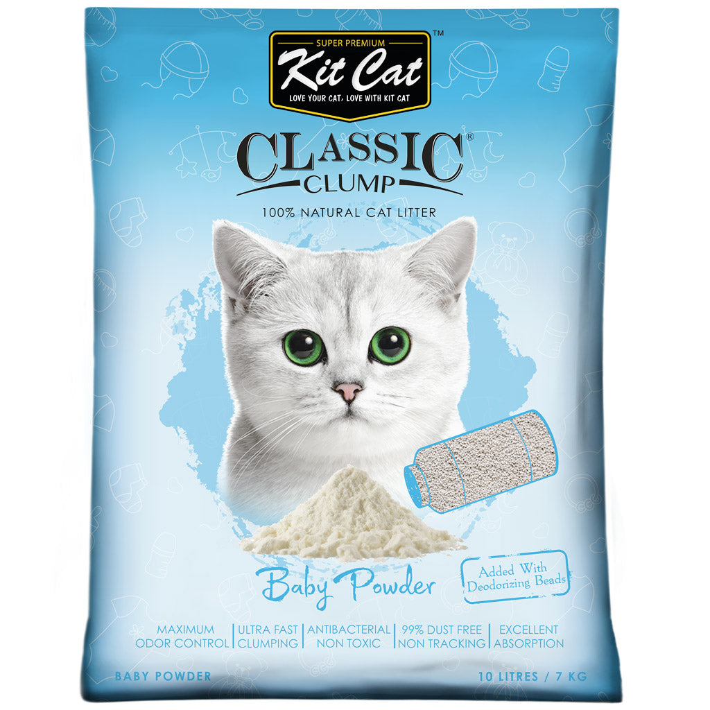 4 FOR $24 [GSS20]: Kit Cat® Classic Clump Baby Powder Cat Litter (10L)