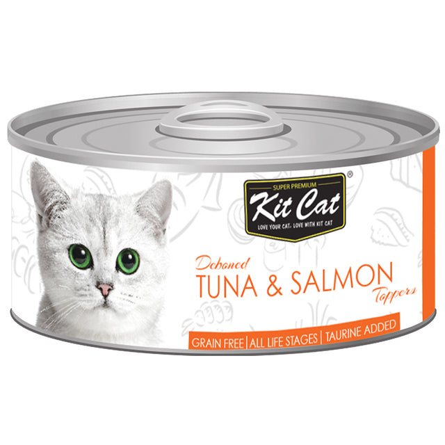$0.95 ONLY [GSS20]: Kit Cat® Deboned Tuna & Salmon Toppers Grain-Free Canned Cat Food 80g (24pcs)