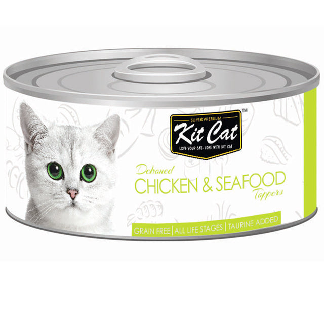 $0.95 ONLY [GSS20]: Kit Cat® Deboned Chicken & Seafood Toppers Grain-Free Canned Cat Food 80g (24pcs)