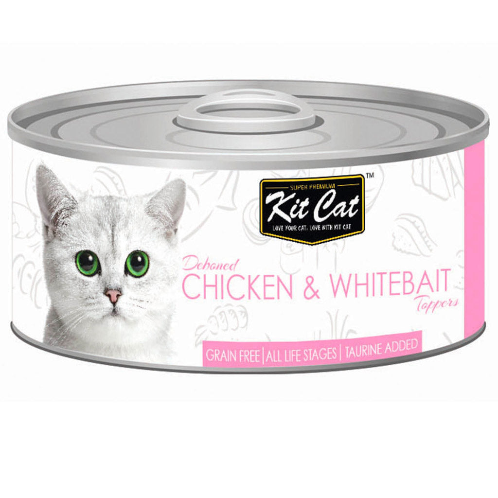 $0.95 ONLY [GSS20]: Kit Cat® Deboned Chicken & Whitebait Toppers Grain-Free Canned Cat Food 80g (24pcs)