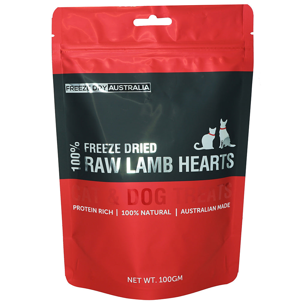 $14 ONLY [XMAS20]: Freeze Dry Australia® Freeze-Dried Diced Lamb Hearts Dog & Cat Treats (100g)