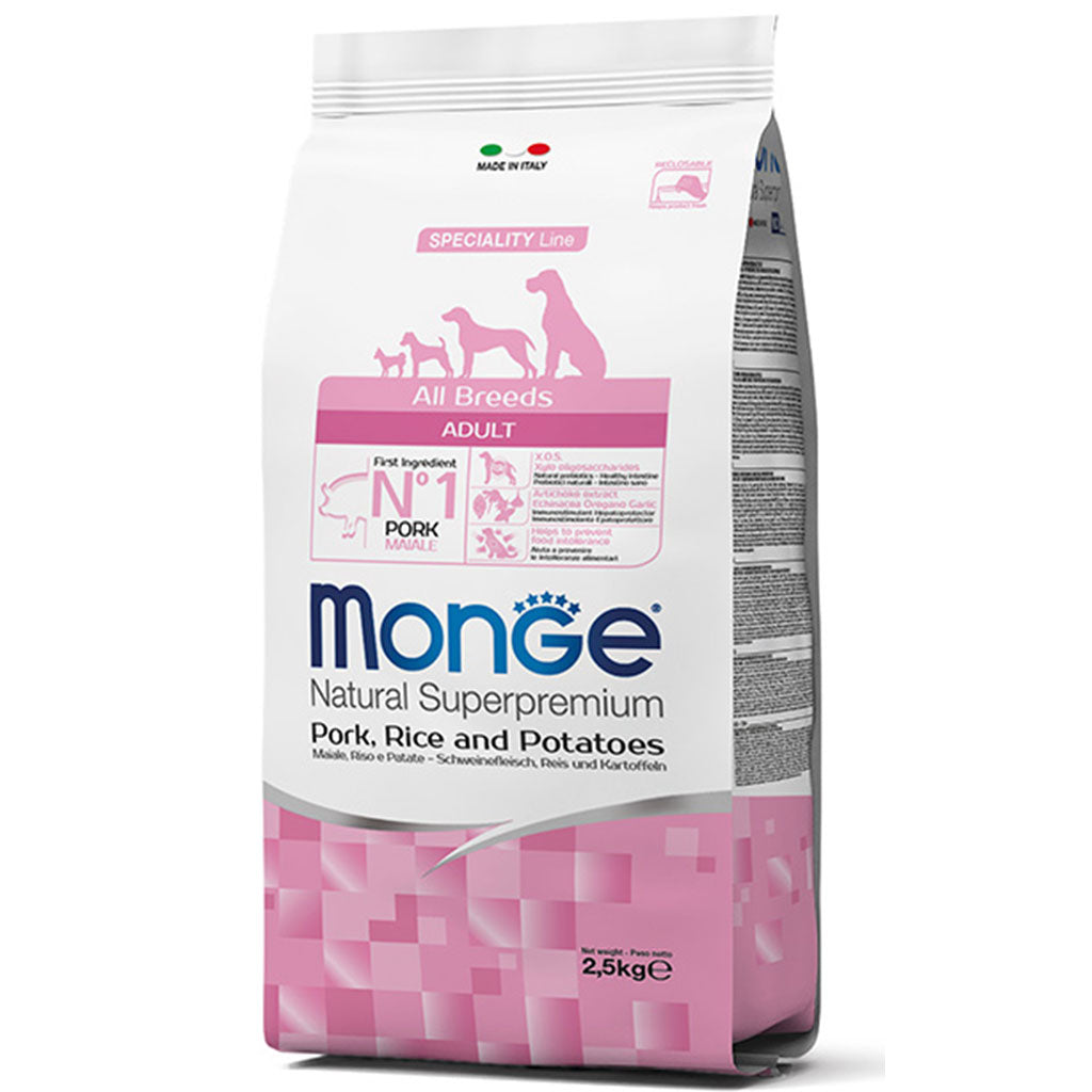 30% OFF: Monge® All Breeds Adult Pork, Rice & Potatoes Dry Dog Food (2 sizes)
