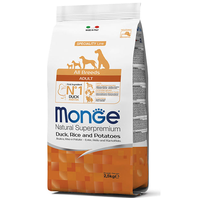 20% OFF [GSS19]: Monge® All Breeds Adult Duck, Rice and Potatoes Dry Dog Food (2 sizes)