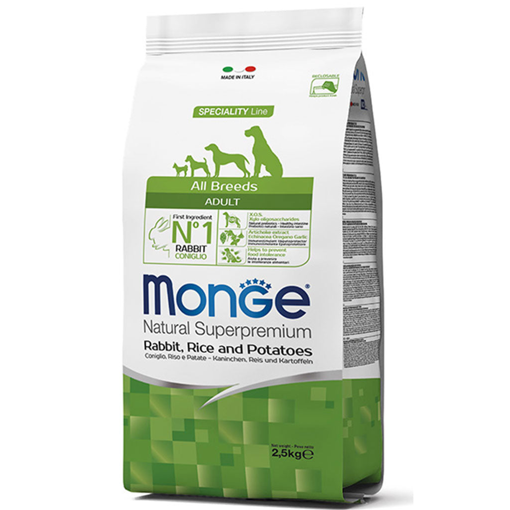 30% OFF: Monge® All Breeds Adult Rabbit, Rice & Potatoes Dry Dog Food (2 sizes)