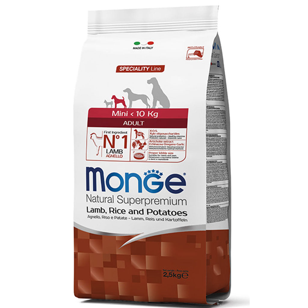 30% OFF: Monge® Mini Adult Lamb, Rice & Potatoes Dry Dog Food 2.5kg