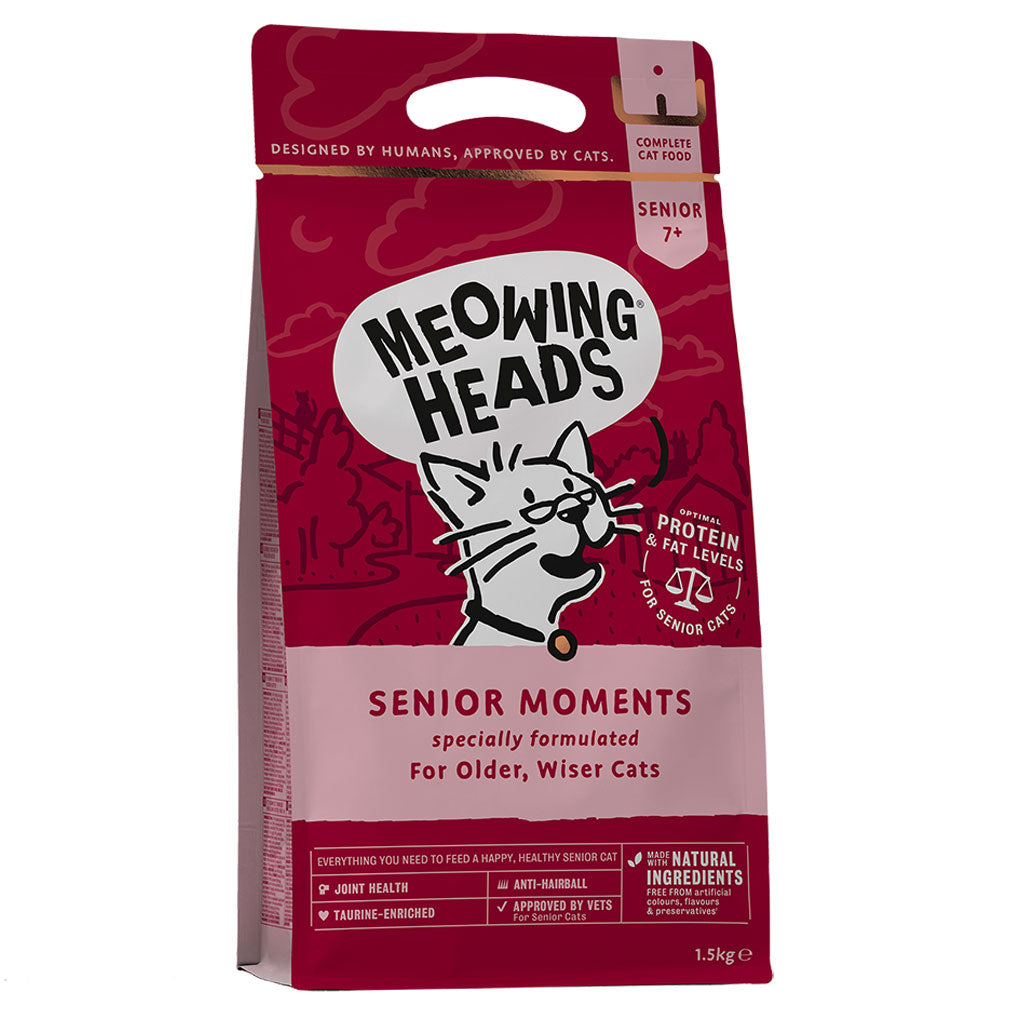 20% OFF: Meowing Heads® Senior Moments Dry Cat Food (2 sizes)