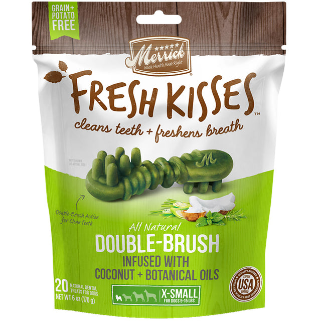 20% OFF [NEW]: Merrick® Fresh Kisses Double-Brush Infused with Coconut Botanical Oils Dog Treats (4 sizes)