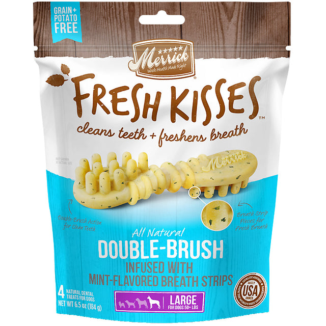 20% OFF [NEW]: Merrick® Fresh Kisses Double-Brush Infused with Mint-Flavoured Breath Strips Dog Treats (4 sizes)