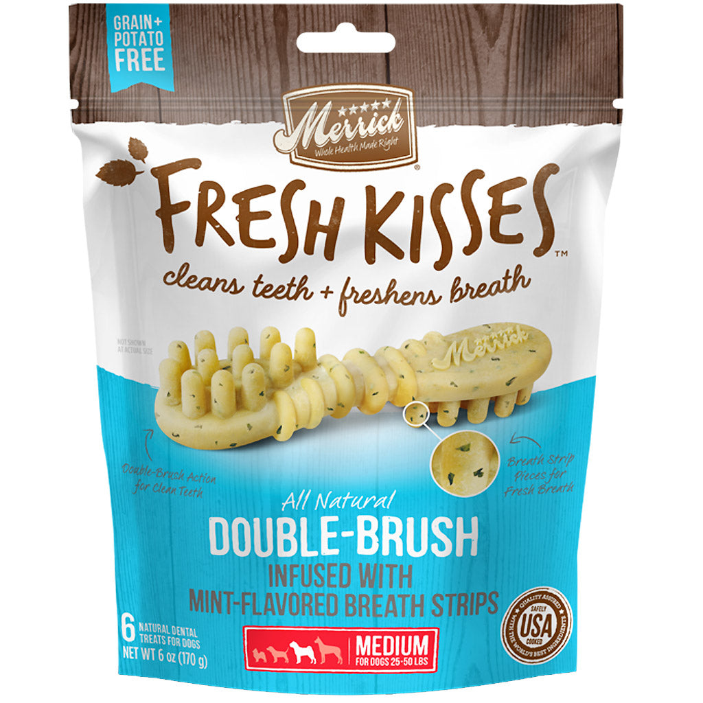 25% OFF: Merrick® Fresh Kisses Double-Brush Infused with Mint Dog Dental Chews (4 sizes)