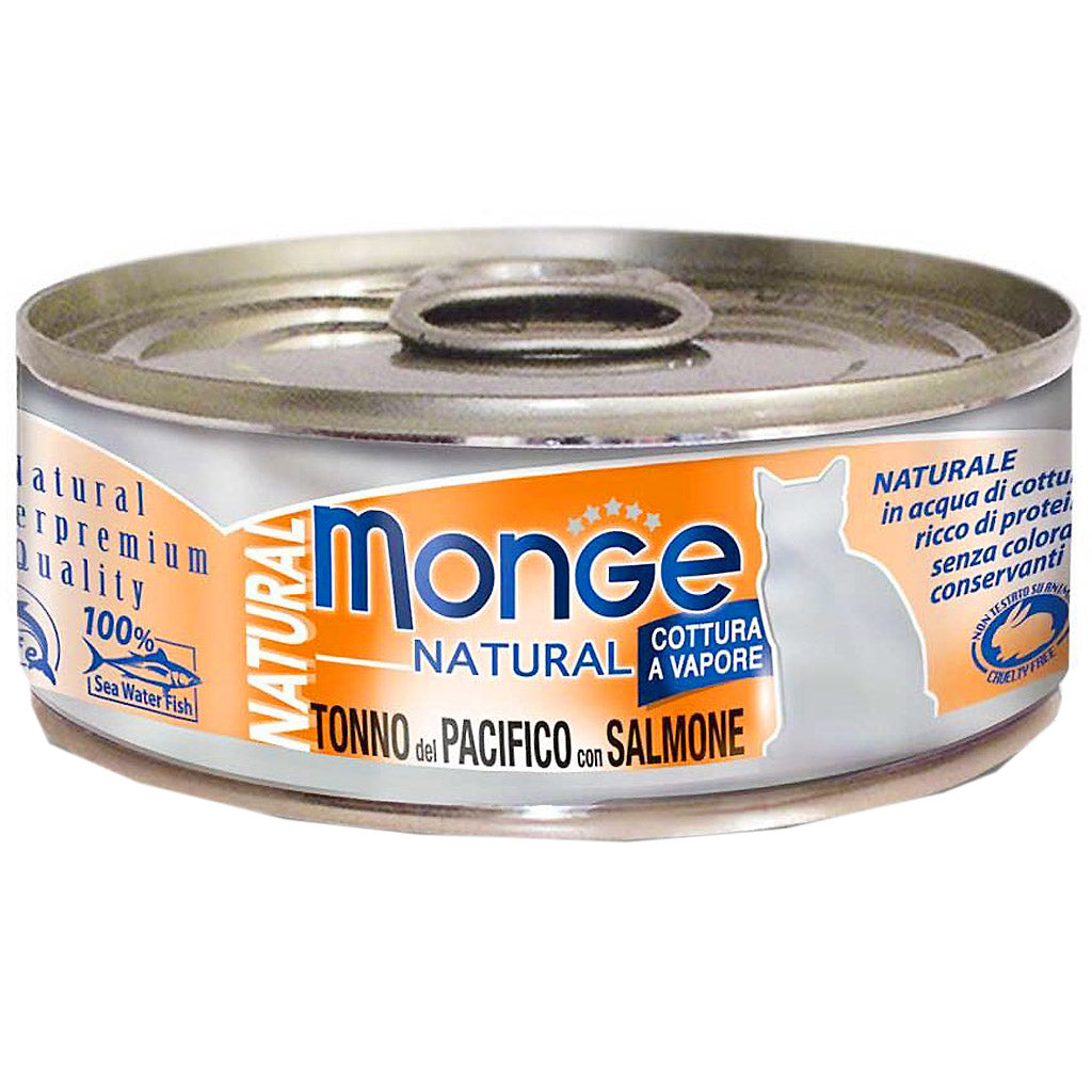 25% OFF: Monge® Natural Yellowfin Tuna with Salmon Canned Cat Food 80g (12/24pcs)