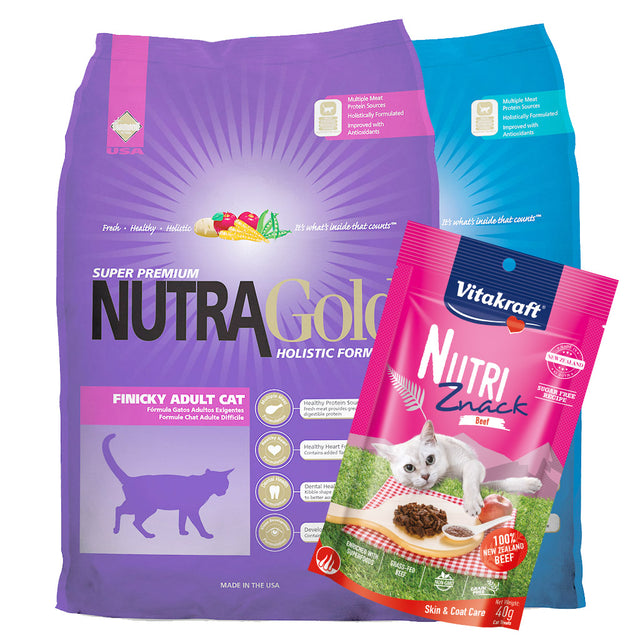 $21 ONLY + FREE TREATS [PETSALE]: NutraGold® Holistic Dry Cat Food - 3 Flavours (2 sizes)